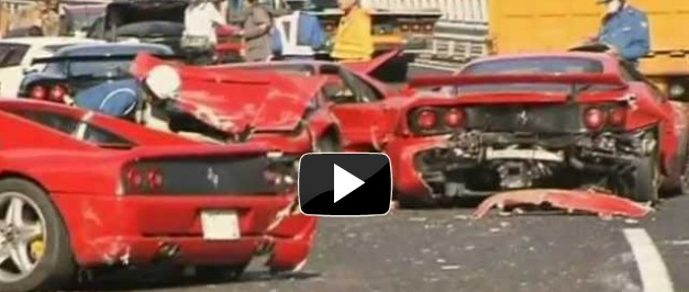 8 Ferraris, 3 Benzs and a Lambo involved in a 14 sports car pileup