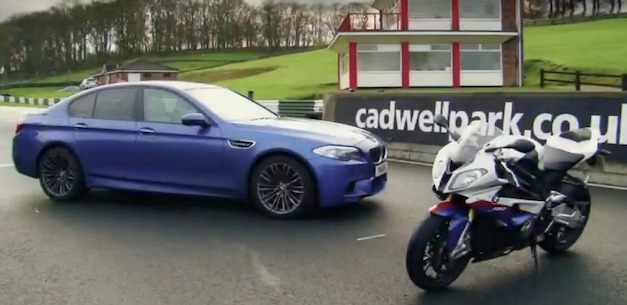 Video: 2012 BMW M5 vs BMW S1000RR super bike