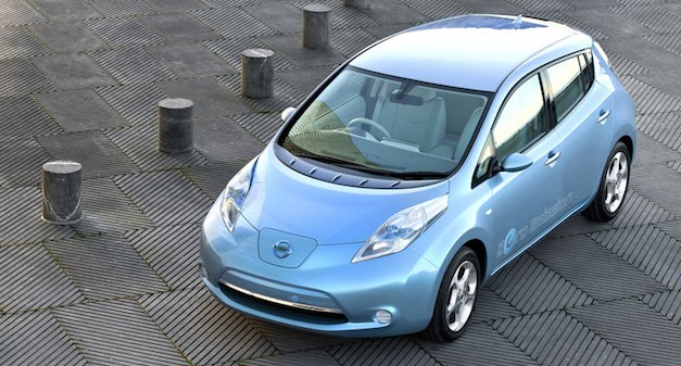 nissan leaf top view blue Nissan tested LEAF's safety and durability during March 2011 tsunami