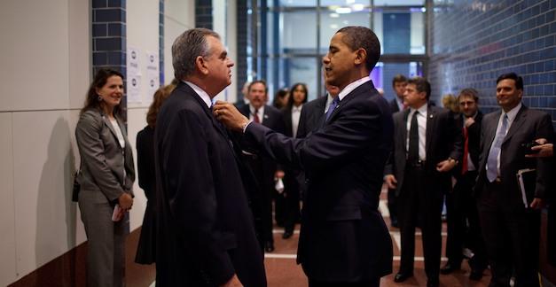 Ray LaHood and Barack Obama