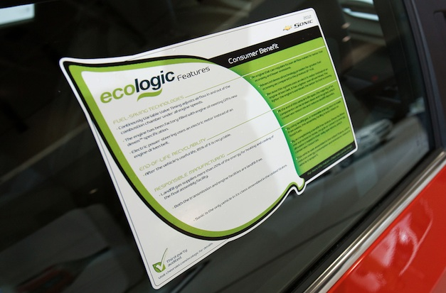 2012 Chevrolet Sonic Ecologic Window Sticker