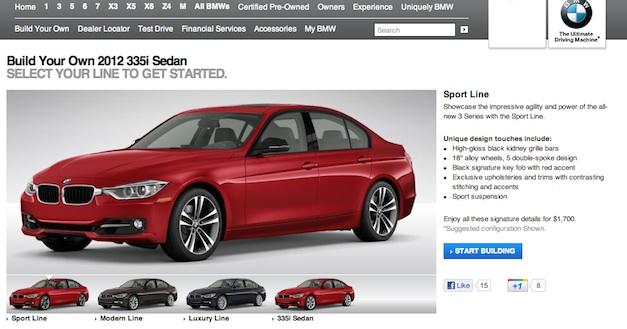 2012 BMW 3 Series Configurator
