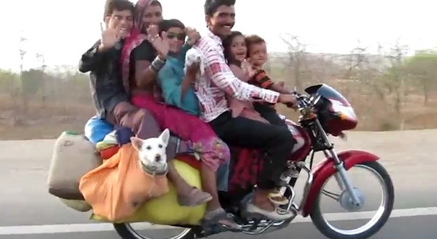Indian Family of 6 on a bike