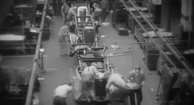 Amazing footage from a car assembly line in 1936