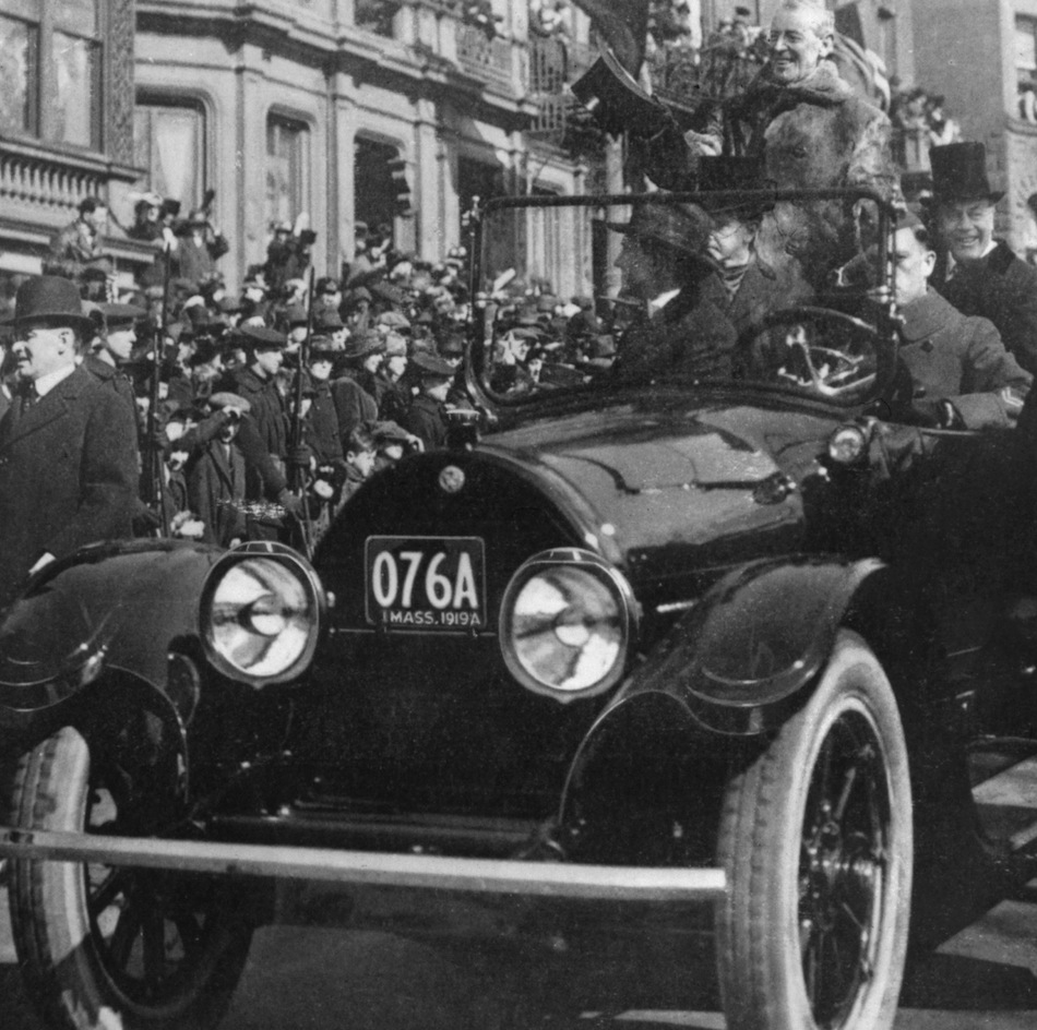 Wilson Cadillac: President Woodrow Wilson Standing In A 1919 Cadillac Type 57