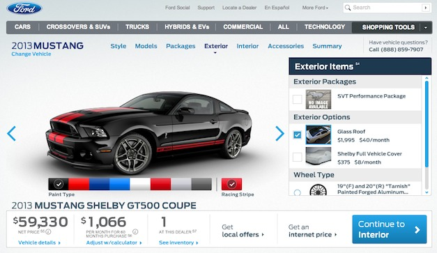 2013 Ford Shelby GT500 price starts at $54,200 for the coupe, $59,200 for the convertible