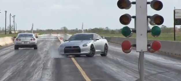 Nissan GT-R spins out during drag race