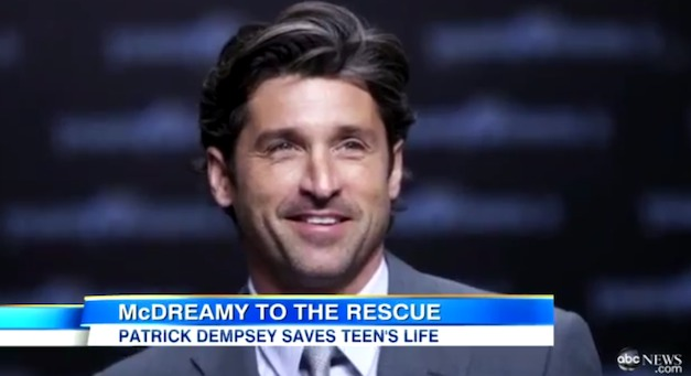 Patrick Dempsey saves teen from flipped car crash