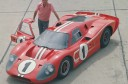 Carroll Shelby next to original Ford GT Le Mans Concept