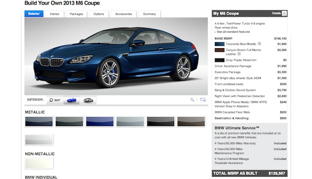 Build your own 2013 BMW M6 Coupe