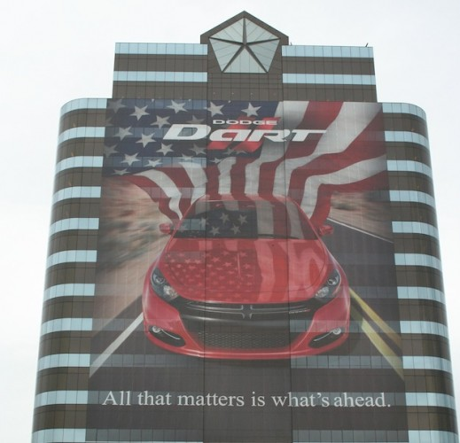 Chrysler headquarters gets 2013 Dodge Dart wrap to celebrate production launch