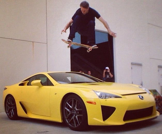 Tony Hawk jumps over Lexus LFA