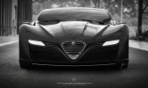 Alfa Romeo C12 GTS Concept Front B/W View