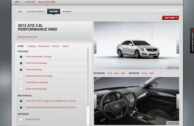 Cadillac launches online configurator for 2013 ATS w/o pricing