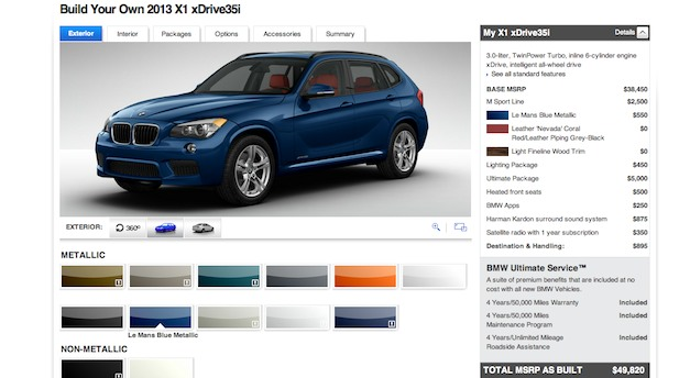 Build your own 2013 BMW X1