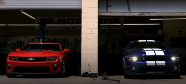 chevycamarzl1fordshelbygt500 627x285 Video: 2012 Chevrolet Camaro ZL1 vs. 2013 Ford Shelby GT500