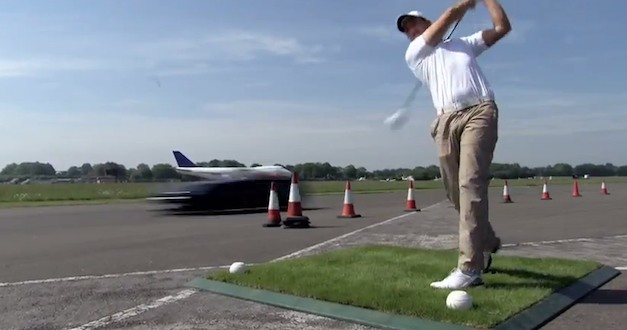 David Coulthard catch a 178-mph golf ball in Mercedes-Benz SLS Roadster 