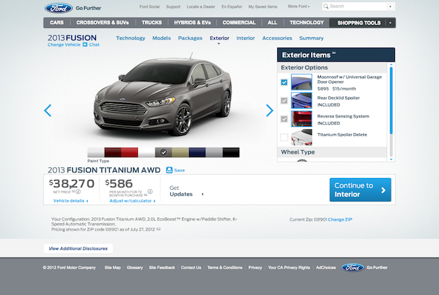 2013 Ford Fusion configurator fully operational w/ pricing, starts at $22,495