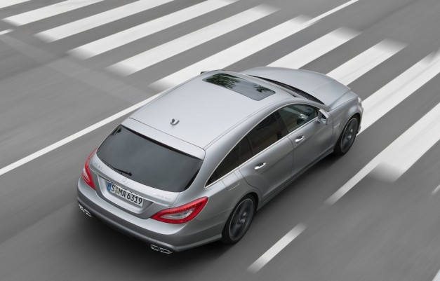 2013 Mercedes-Benz CLS63 AMG Shooting Brake From Above Rear In Motion