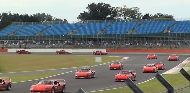 60 Ferrari F40 units circle the Silverstone