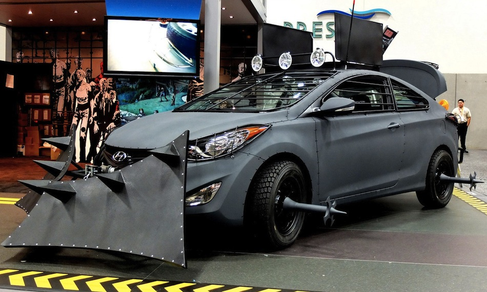 Elantra Coupe Zombie Survival Machine Front 7/8 View