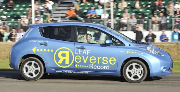 Video: Nissan LEAF completes Goodwood hillclimb record in reverse