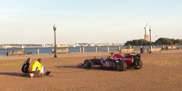 Infiniti Red Bull F1 race-car plays The Star-Spangled Banner