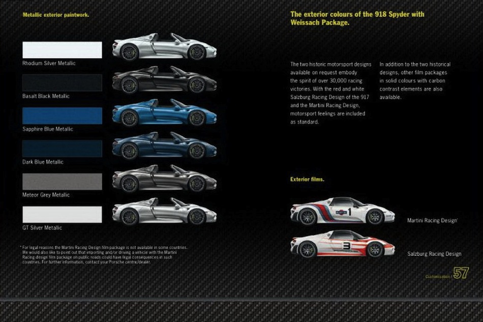 leaked porsche 918 spyder brochure colors egmcartech. Black Bedroom Furniture Sets. Home Design Ideas