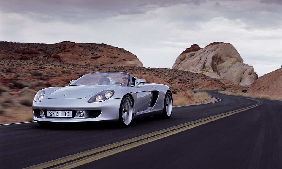2004 Porsche Carrera GT Front 3-4 Left Cruising In the Desert