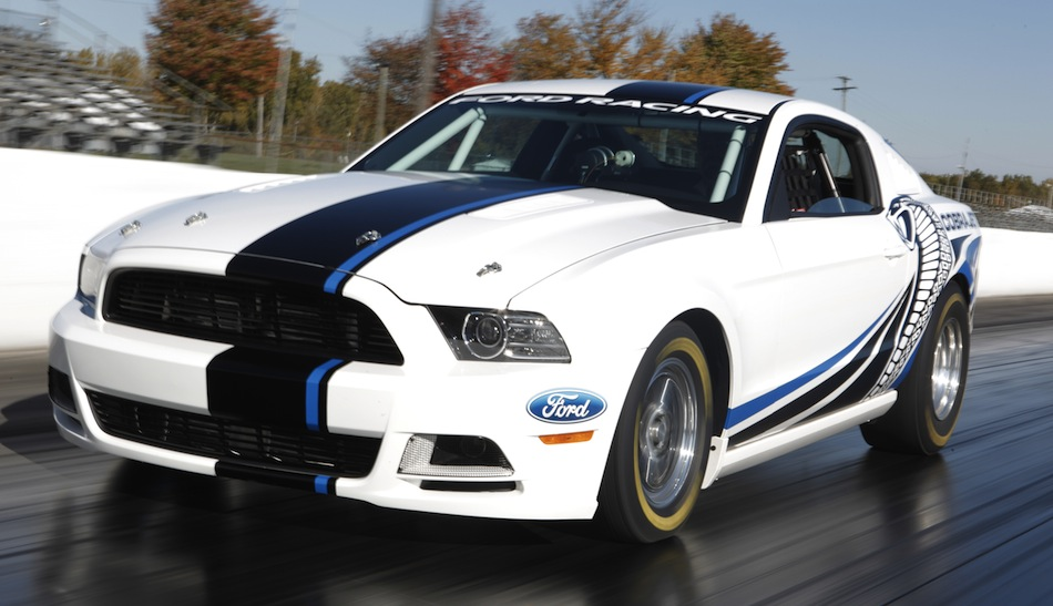 Mustang Cobra Jet Twin-Turbo Concept White Front 3/4 Action View