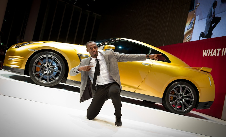 Bolt Gold Nissan GT-R with Usain Lightning