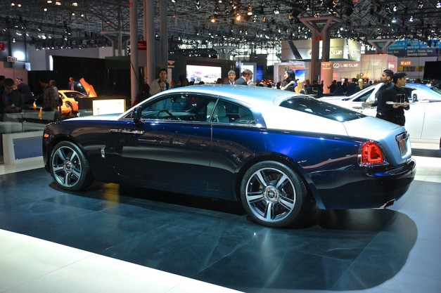 2014 Rolls Royce Wraith Coupe NYIAS Rear 7 8 Left 627x417 Report: Rolls Royce considering Wraith based convertible, and either a new SUV crossover or full size shooting brake sedan