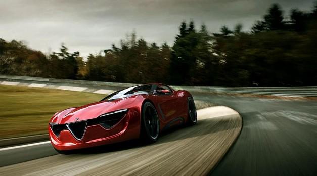 2013 Alfa Romeo 6C Coupe Concept Front 3-4 Left Cruising