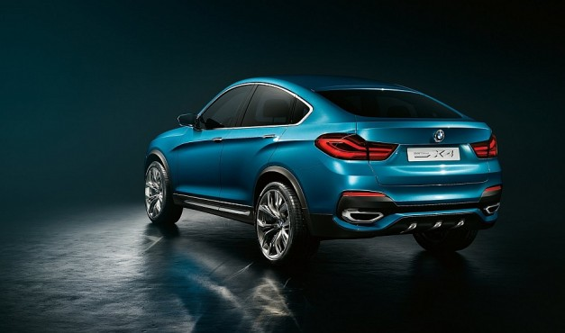 "2013 BMW X4 SAV Concept Rear 3 4 Left 627x370 Report: Next generation BMW X6 due in 2015 after the X4 arrives next year with ""more aggressive"" looks"