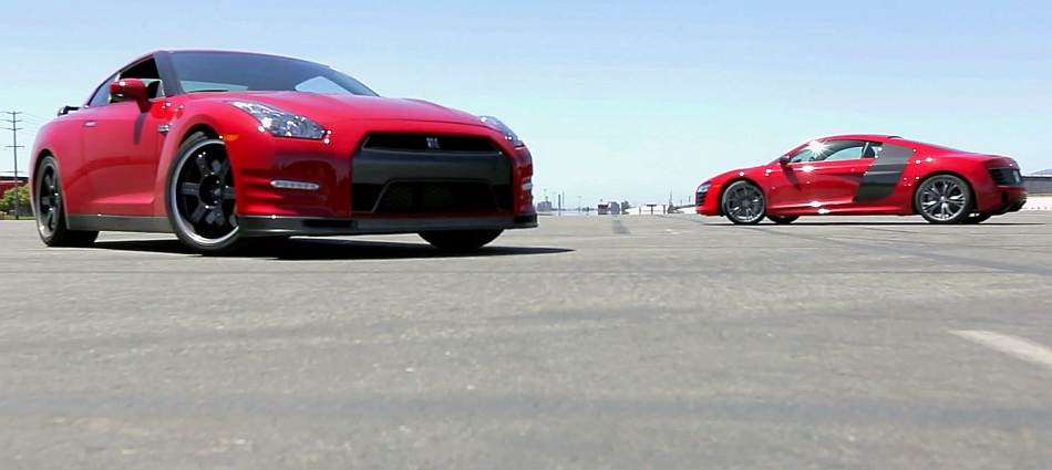 2014 Nissan GT-R Track Pack v 2014 Audi R8 V10 Plus MotorTrend Video