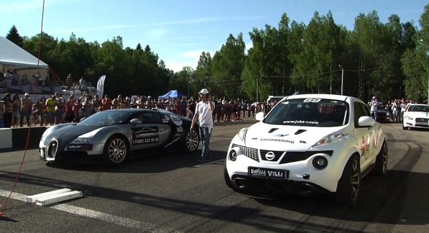 Video: A Bugatti Veyron vs. a custom 700hp Nissan Juke-R, who do you think will win in the standing mile?