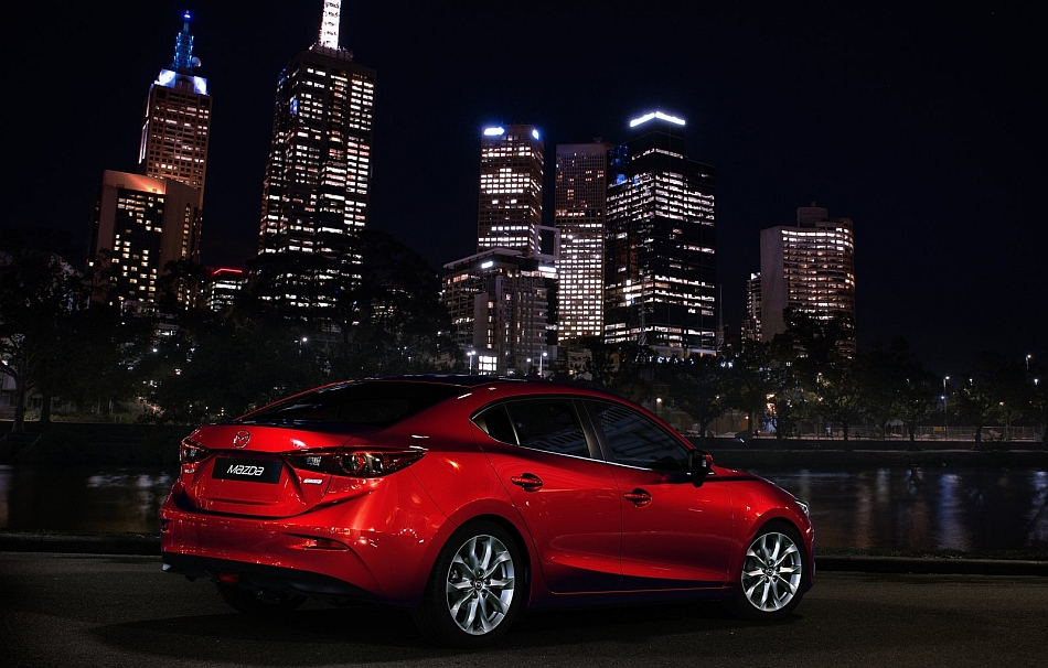 2014 mazda3 sedan rear 3 4 right city at night egmcartech. Black Bedroom Furniture Sets. Home Design Ideas