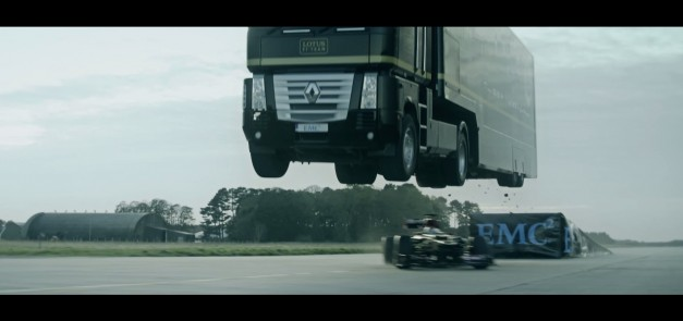 Video: Watch what happens when you combine a semi-truck and a Lotus F1 car for a world-record jump