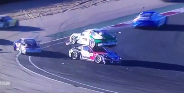 Video: Watch how one Porsche 911 GT racer hilariously ends up on top of another
