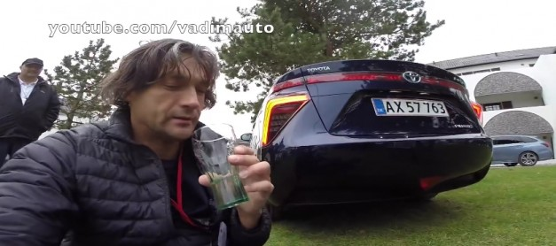Video: Watch this journalist attempt to drink water emitted from the Toyota Mirai