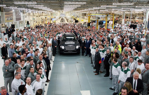 The first Bentley Bentayga for the public rolls off of the assembly line in Crewe