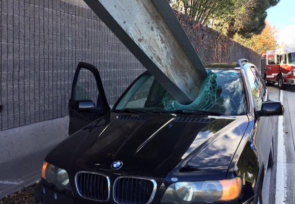 Offbeat: BMW driver avoids being impaled by metal in a freak accident