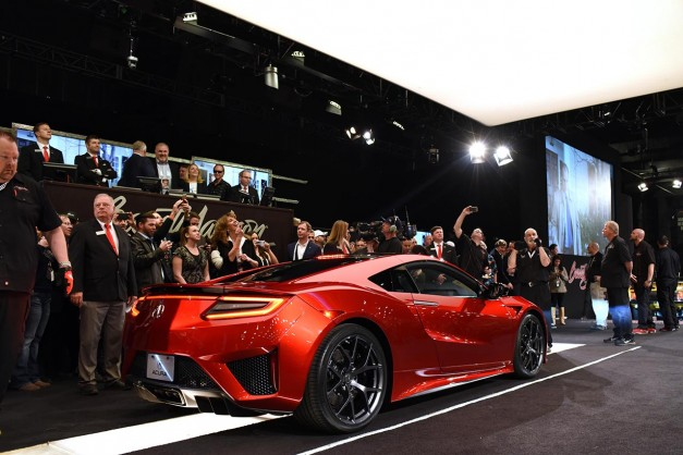 The first-ever production 2017 Acura NSX, VIN #001, goes for $1.2 million at Barrett-Jackson