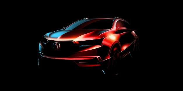 Acura says so-long to the polarizing beak on the new 2017 MDX, teased before NY debut