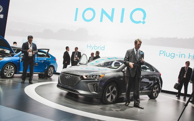 2016 New York: The Hyundai Ioniq arrives at the Javits to take on the Toyota Prius