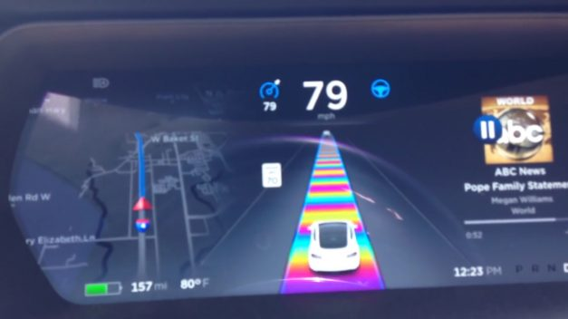 """Video: The latest """"easter egg"""" in the Tesla Model S harks back to Mario Kart 64's Rainbow Road"""
