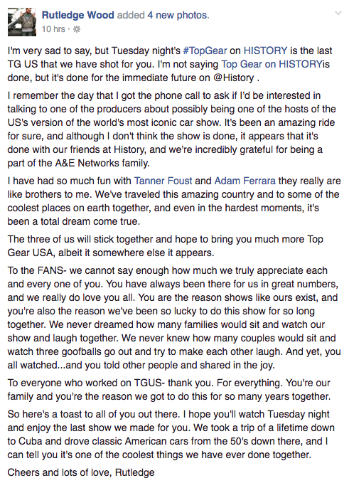 Rutledge Wood Top Gear USA Cancellation post 2016