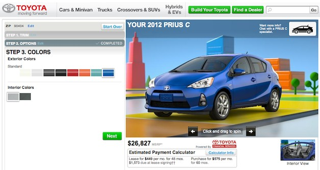 Build your own 2012 Toyota Prius C