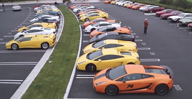 50 Lamborghinis in a parking lot