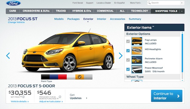 Build your own 2013 Ford Focus ST